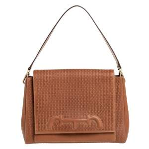 Carolina Herrera Tan Monogram Leather Medium Doma Insignia Shoulder Bag