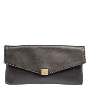 Carolina Herrera Metallic Leather Envelope Clutch