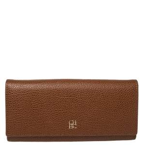 Carolina Herrera Brown Leather Flap Continental Wallet