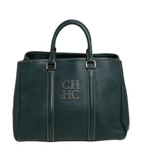 Carolina Herrera Green Leather Andy Tote