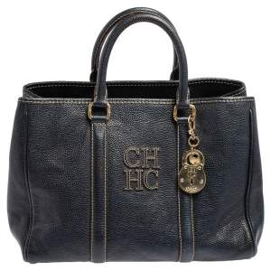 Carolina Herrera Blue Leather Andy Tote
