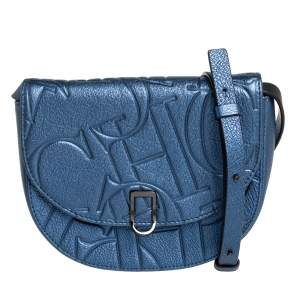 Carolina Herrera Metallic Blue Monogram Leather Crossbody Bag