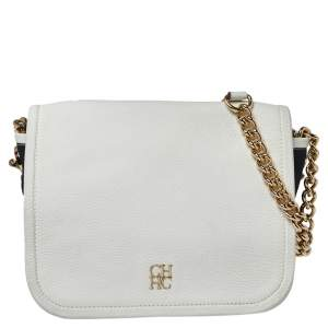 Carolina Herrera White/Navy Blue Leather and Suede Chain Flap Shoulder Bag