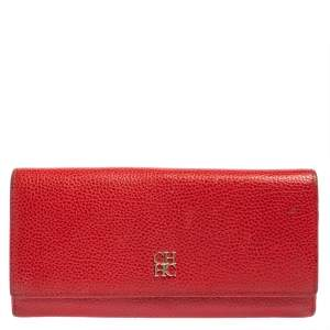Carolina Herrera Red Leather Flap Continental Wallet