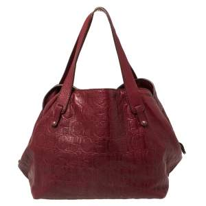 Carolina Herrera Burgundy Monogram Embossed Leather Middle Zip Satchel