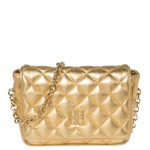 Carolina Herrera Gold Quilted  Leather Flap Chain Crossbody Bag