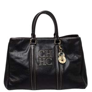 Carolina Herrera Black Leather Matteo Tote