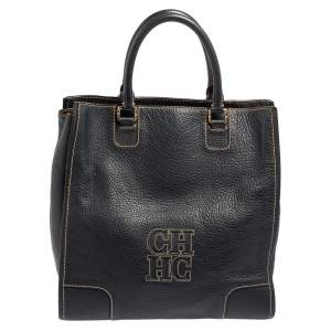Carolina Herrera Navy Blue Leather Shopper Tote