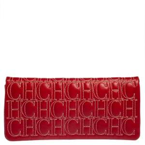 Carolina Herrera Red Monogram Leather Jerry Clutch