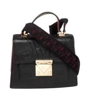 Carolina Herrera Black Embossed Leather Pushlock Flap Top Handle Bag