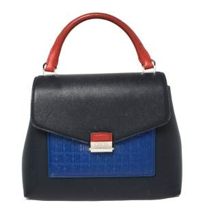 Carolina Herrera Multicolor Monogram Embossed Leather Flap Top Handle Bag