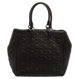 Carolina Herrera Monogram Embossed and Quilted Leather Tote