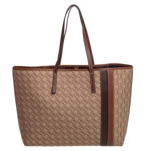 Carolina Herrera Beige/Brown Monogram Canvas and Leather Shopper Tote