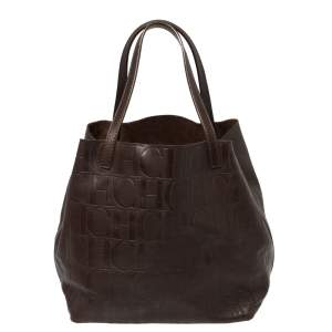 Carolina Herrera Brown Monogram Leather Matryoshka Tote