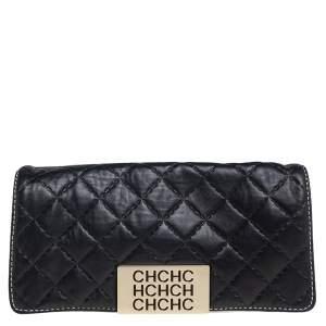 حقيبة كلتش كارولينا هيريرا جلد مبطن أزرق بالشعار