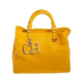 Carolina Herrera Yellow Leather Charm Tote