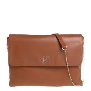 حقيبة كتف كارولينا هيريرا جلد بني بسلسلة