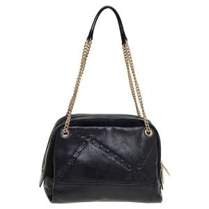 Carolina Herrera Black Leather and Suede Embossed Logo Shoulder Bag