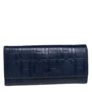 محفظة كارولينا هيريرا كونتينينتال جلد مونوغرامي أزرق