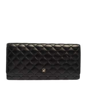 Carolina Herrera Black Quilted Leather Flap Wallet