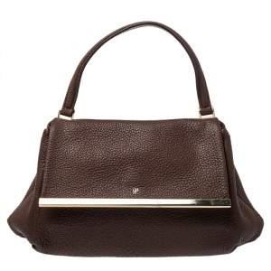 Carolina Herrera Brown Leather Metal Frame Top Handle Bag