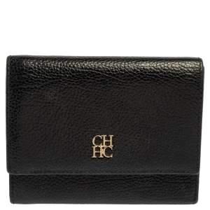 Carolina Herrera Black Grained Leather Trifold Wallet