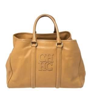 حقيبة يد توتس كارولينا هيريرا ماتيو جلد محبب بني فاتح
