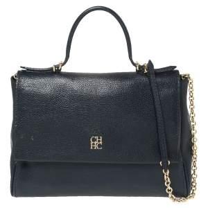 حقيبة كارولينا هيريرا مينيتو جلد أزرق كحلي بقلاب