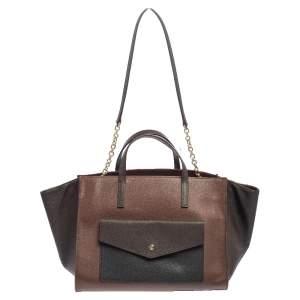 Carolina Herrera Black /Brown Grained Leather Envelope Pocket Tote
