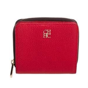 Carolina Herrera Red Leather Zip Around Wallet