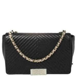Carolina Herrera Black Chevron Leather Bimba Flap Bag