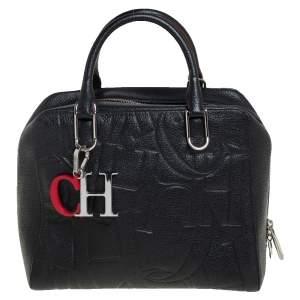Carolina Herrera Black Embossed Leather Duke Satchel