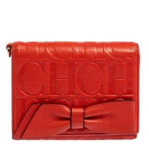 Carolina Herrera Orange Embossed Leather Bow Trifold Wallet