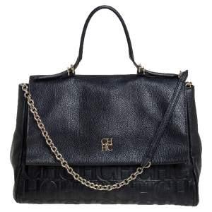 Carolina Herrera Black Leather  Minuetto Top Handle Bag