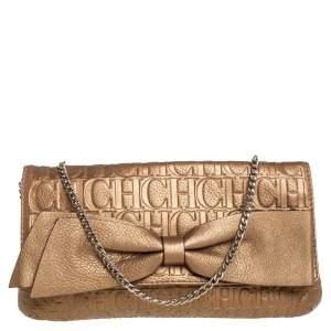 Carolina Herrera Metallic Gold Monogram Leather Audrey Chain Bag