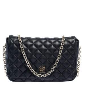 Carolina Herrera Black Quilted Leather Flap Crossbody Bag