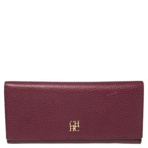 Carolina Herrera Burgundy Leather Flap Continental Wallet