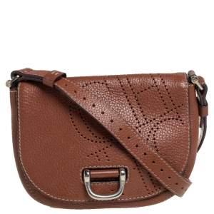 Carolina Herrera Brown Leather Flap Crossbody Bag