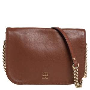 Carolina Herrera Brown Leather New Baltazar Flap Shoulder Bag