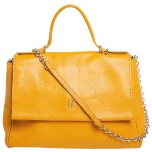 Carolina Herrera Yellow Leather Minuetto Flap Top Handle Bag