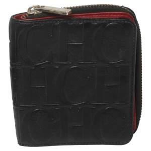 Carolina Herrera Black Monogram Leather Compact Wallet