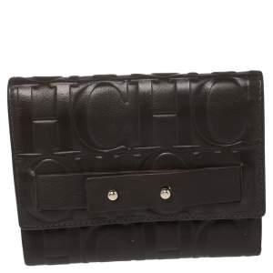 Carolina Herrera Brown Monogram Leather Trifold Wallet