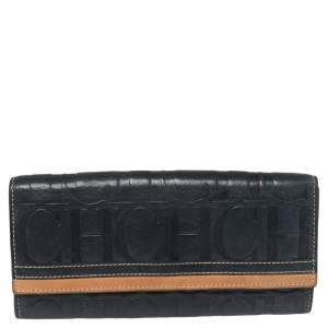 Carolina Herrera Blue/Tan Embossed Leather Flap Wallet