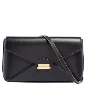 Carolina Herrera Black Leather Envelope Flap Crossbody Bag