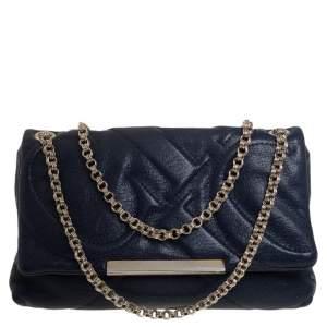 Carolina Herrera Blue Quilted Leather Flap Chain Shoulder Bag