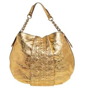 Carolina Herrera Gold Metallic Monogram Leather Chain Hobo