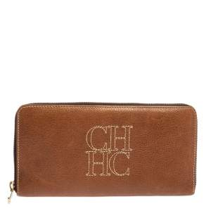Carolina Herrera Brown Leather Zip Around Wallets