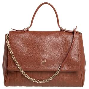Carolina Herrera Brown Embossed Leather Minuetto Flap Top Handle Bag