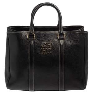 Carolina Herrera Black Grained Leather Matteo Tote