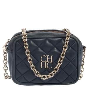 Carolina Herrera Blue Quilted Leather Chain Crossbody Bag